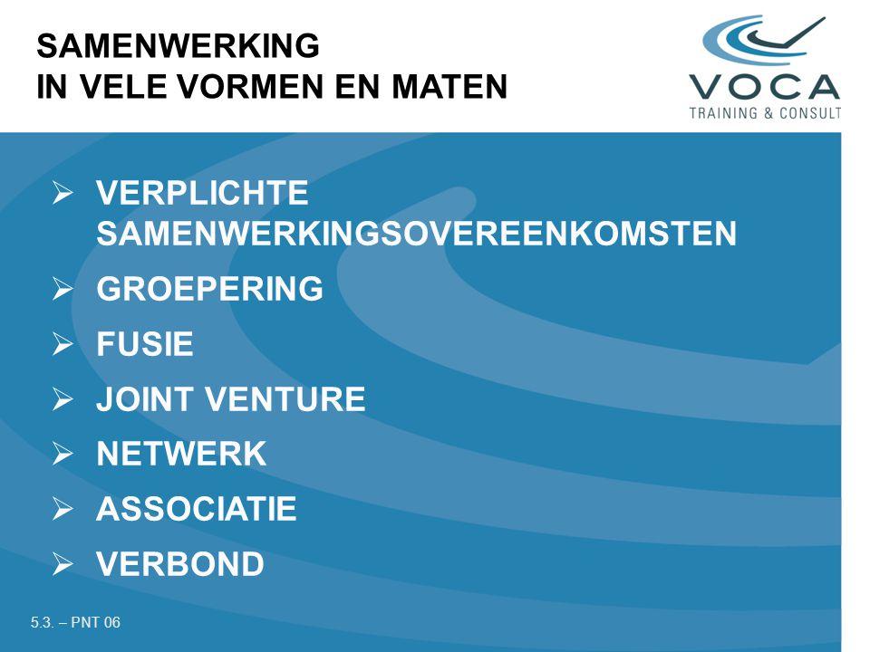  VERPLICHTE SAMENWERKINGSOVEREENKOMSTEN  GROEPERING  FUSIE  JOINT VENTURE  NETWERK  ASSOCIATIE  VERBOND SAMENWERKING IN VELE VORMEN EN MATEN 5.3.