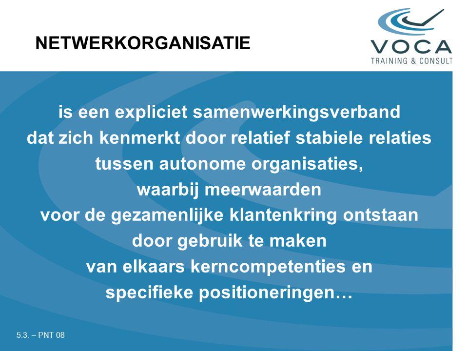is een expliciet samenwerkingsverband dat zich kenmerkt door relatief stabiele relaties tussen autonome organisaties, waarbij meerwaarden voor de gezamenlijke klantenkring ontstaan door gebruik te maken van elkaars kerncompetenties en specifieke positioneringen… NETWERKORGANISATIE 5.3.
