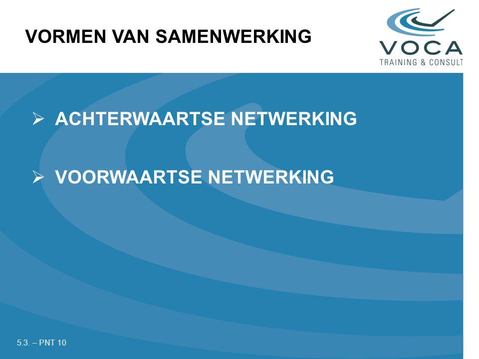  ACHTERWAARTSE NETWERKING  VOORWAARTSE NETWERKING VORMEN VAN SAMENWERKING 5.3. – PNT 10