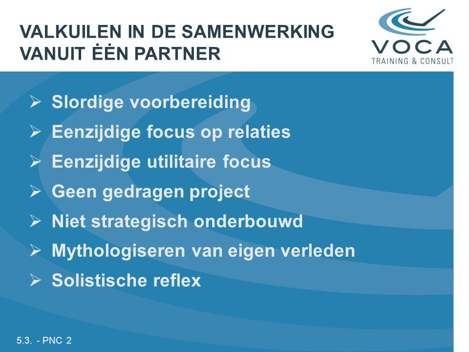 5.3. - PNC 2  Slordige voorbereiding  Eenzijdige focus op relaties  Eenzijdige utilitaire focus  Geen gedragen project  Niet strategisch onderbou