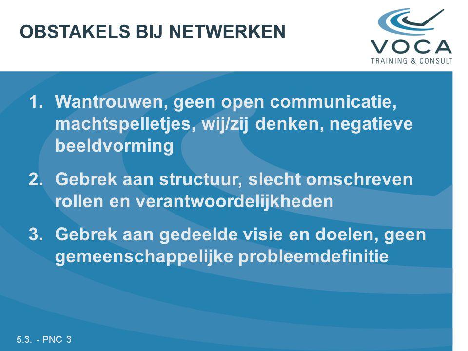 5.3. - PNC 3 1.Wantrouwen, geen open communicatie, machtspelletjes, wij/zij denken, negatieve beeldvorming 2.Gebrek aan structuur, slecht omschreven r