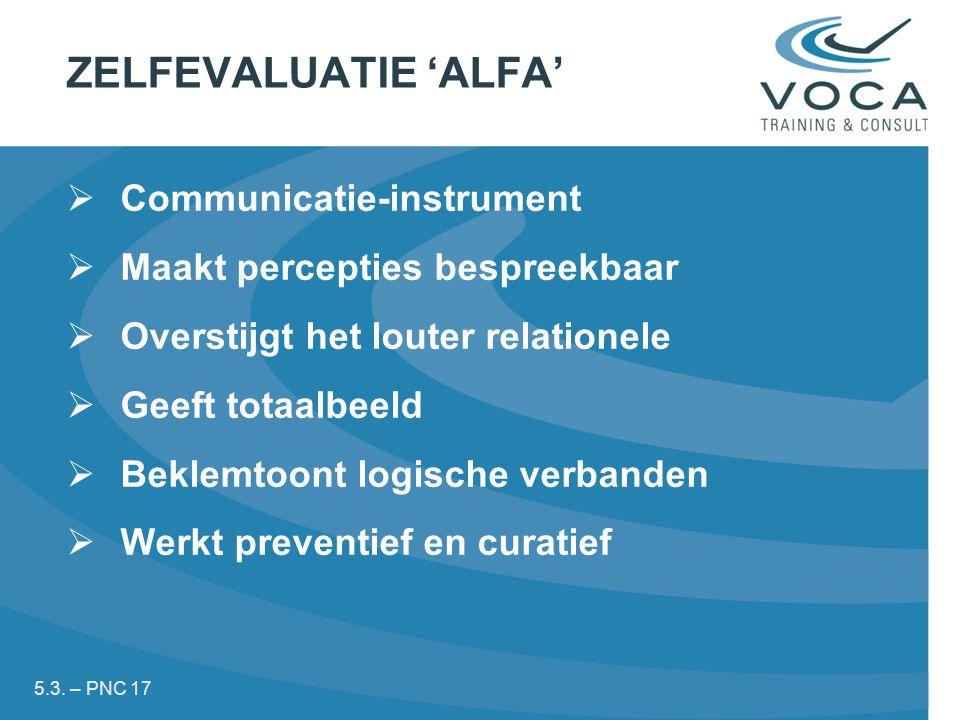 ZELFEVALUATIE 'ALFA'  Communicatie-instrument  Maakt percepties bespreekbaar  Overstijgt het louter relationele  Geeft totaalbeeld  Beklemtoont logische verbanden  Werkt preventief en curatief 5.3.
