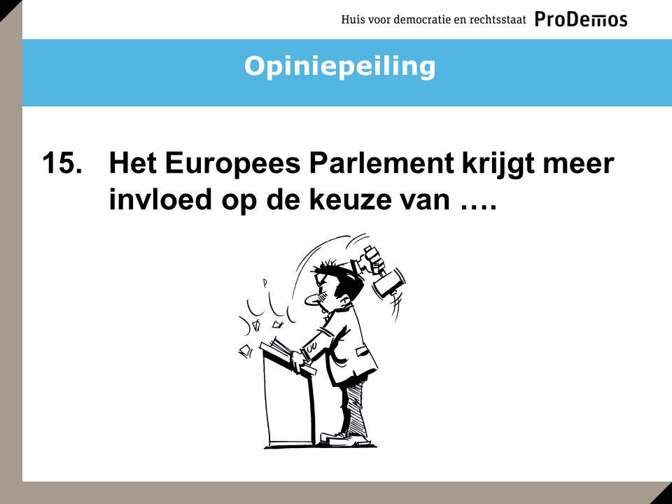 Opiniepeiling 15. Het Europees Parlement krijgt meer invloed op de keuze van ….
