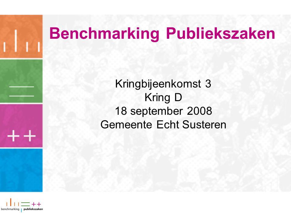 Benchmarking Publiekszaken Kringbijeenkomst 3 Kring D 18 september 2008 Gemeente Echt Susteren