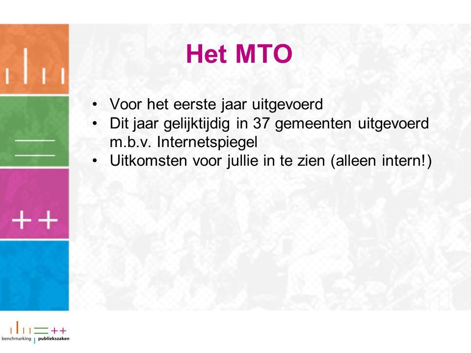 Het MTO Voor het eerste jaar uitgevoerd Dit jaar gelijktijdig in 37 gemeenten uitgevoerd m.b.v. Internetspiegel Uitkomsten voor jullie in te zien (all