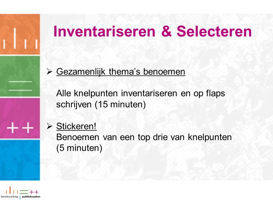 Inventariseren & Selecteren  Gezamenlijk thema's benoemen Alle knelpunten inventariseren en op flaps schrijven (15 minuten)  Stickeren! Benoemen van