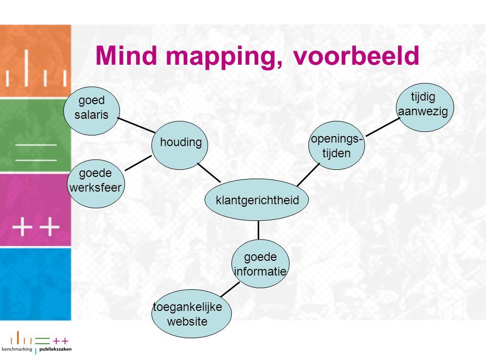 Mind mapping, voorbeeld klantgerichtheid houding openings- tijden goed salaris tijdig aanwezig goede informatie goede werksfeer toegankelijke website