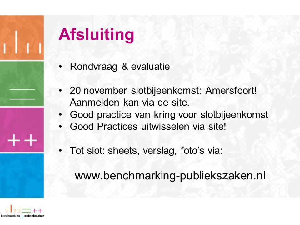 Afsluiting Rondvraag & evaluatie 20 november slotbijeenkomst: Amersfoort! Aanmelden kan via de site. Good practice van kring voor slotbijeenkomst Good