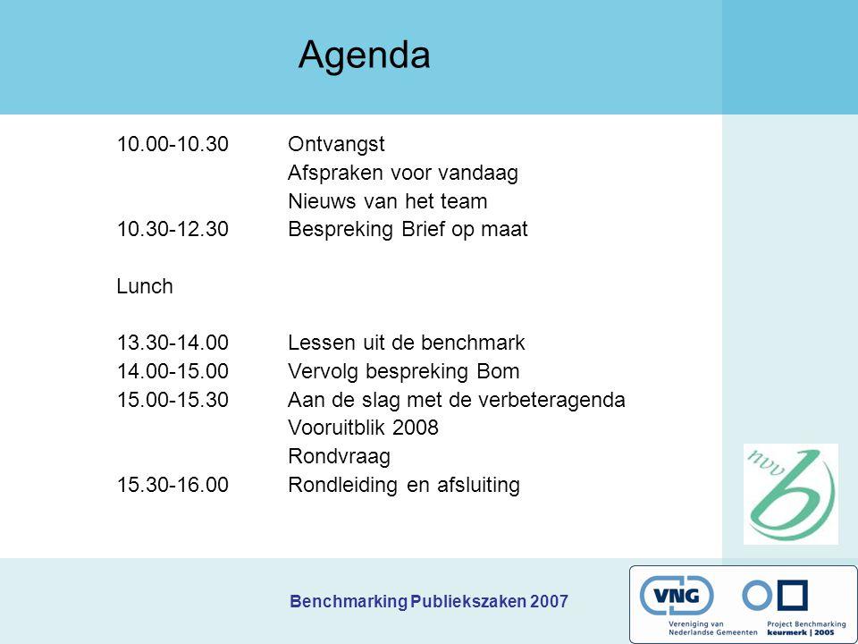 Benchmarking Publiekszaken 2007 10.00-10.30 Ontvangst Afspraken voor vandaag Nieuws van het team 10.30-12.30Bespreking Brief op maat Lunch 13.30-14.00Lessen uit de benchmark 14.00-15.00Vervolg bespreking Bom 15.00-15.30Aan de slag met de verbeteragenda Vooruitblik 2008 Rondvraag 15.30-16.00Rondleiding en afsluiting Agenda