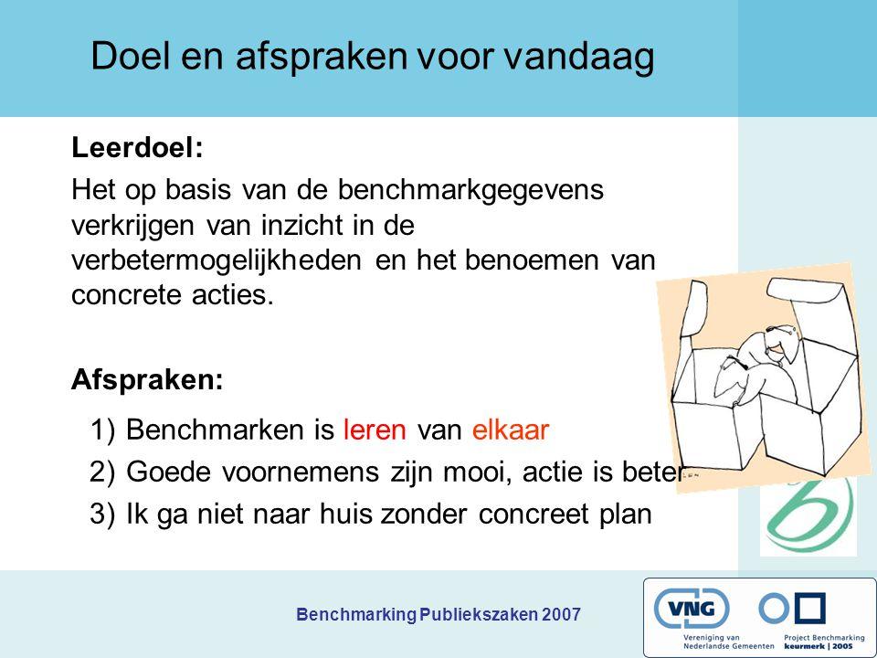 Benchmarking Publiekszaken 2007 Werken met de verbeteragenda 1.