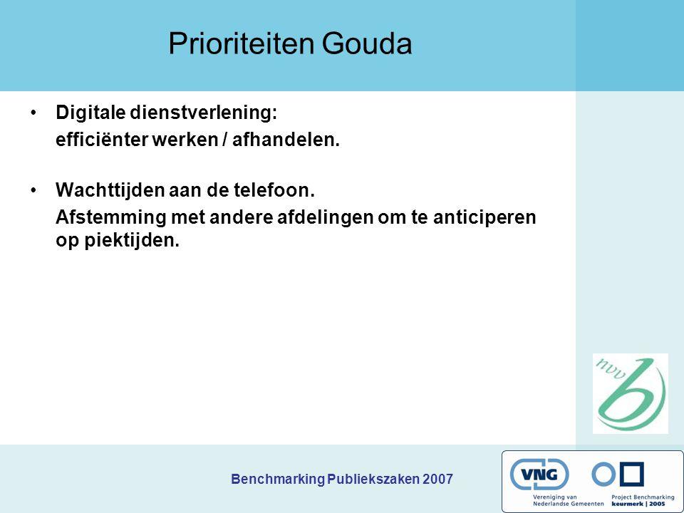 Benchmarking Publiekszaken 2007 Kernindicatoren Gouda Bereikbaarheid balie Gereal.