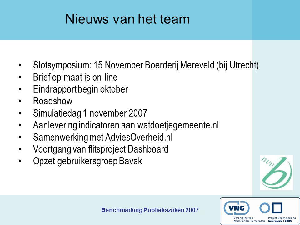 Benchmarking Publiekszaken 2007 Prioriteiten Terneuzen