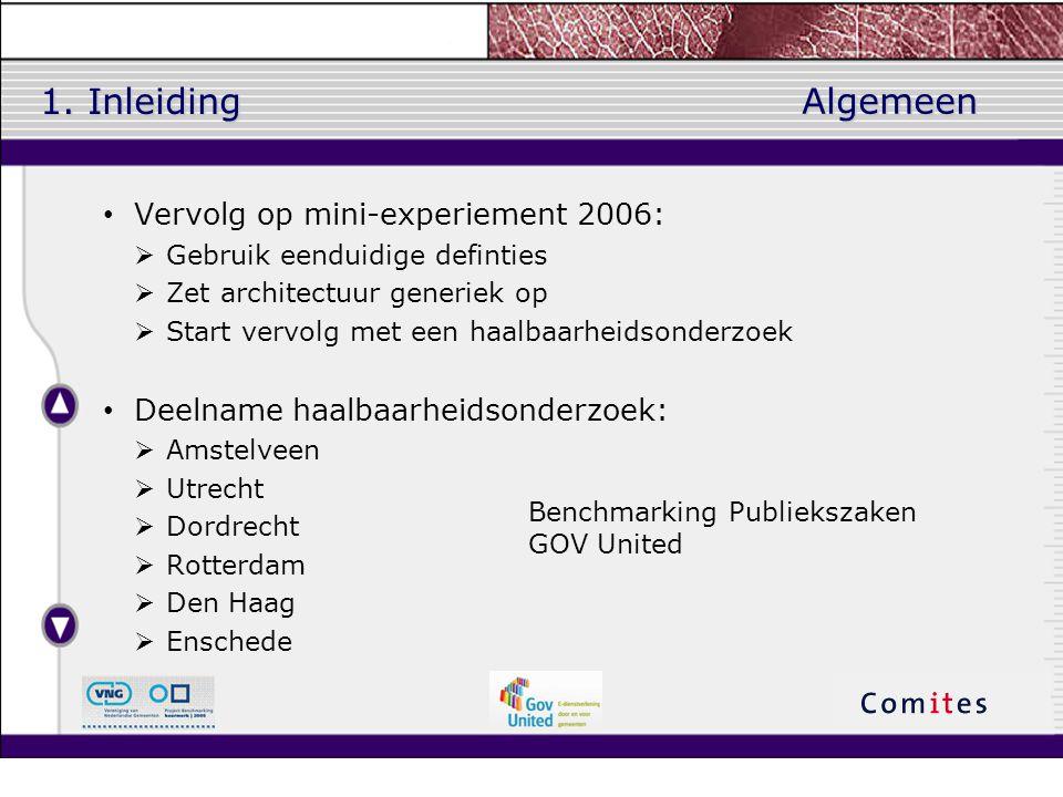 1. Inleiding Vervolg op mini-experiement 2006:  Gebruik eenduidige definties  Zet architectuur generiek op  Start vervolg met een haalbaarheidsonde