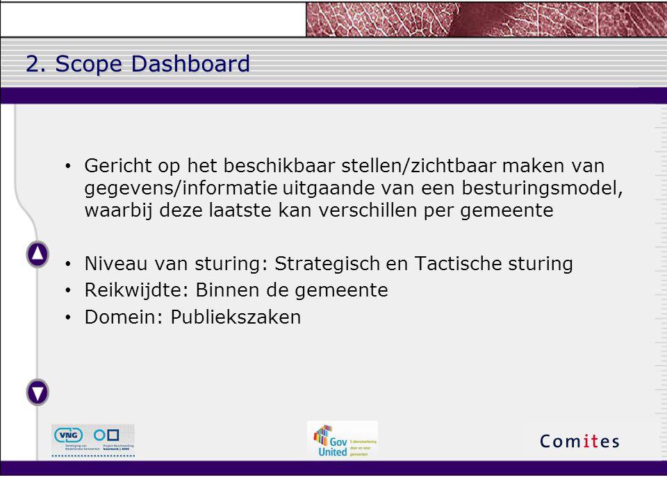 2. Scope Dashboard Gericht op het beschikbaar stellen/zichtbaar maken van gegevens/informatie uitgaande van een besturingsmodel, waarbij deze laatste