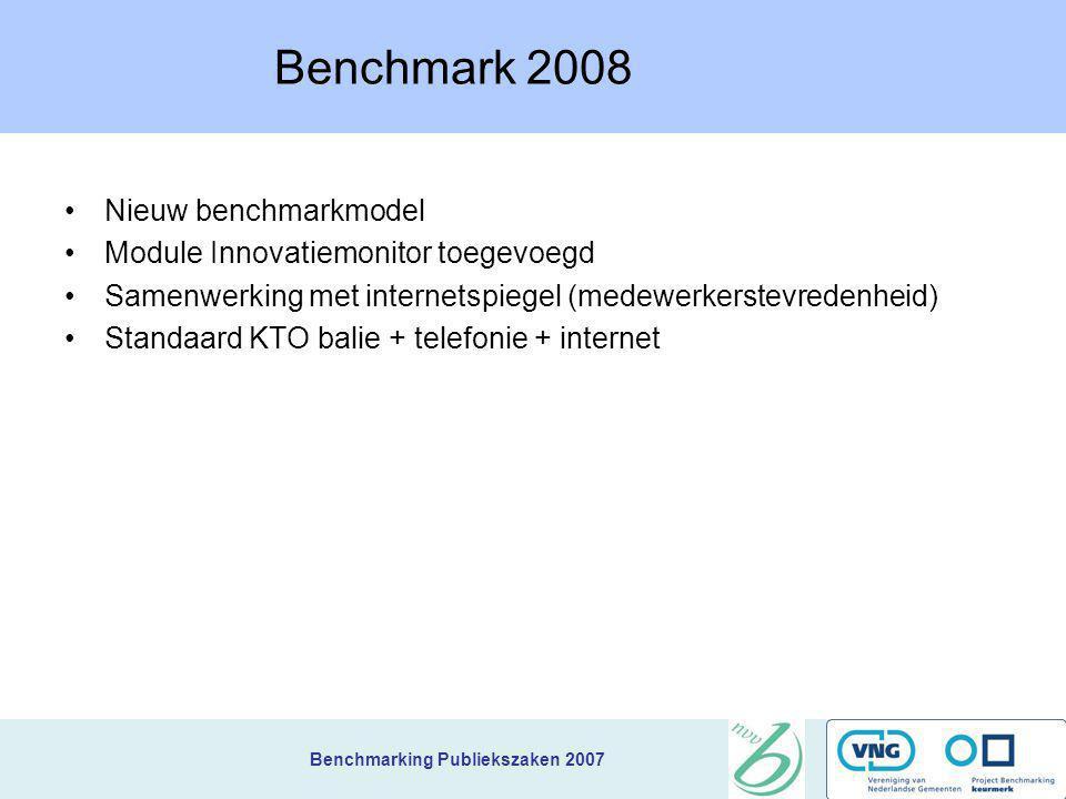 Benchmarking Publiekszaken 2007 Lessen uit de benchmark 1)Telefonische wachttijden in een call-center zijn korter (94% < 20sec tov 84%) 2)De klant zel