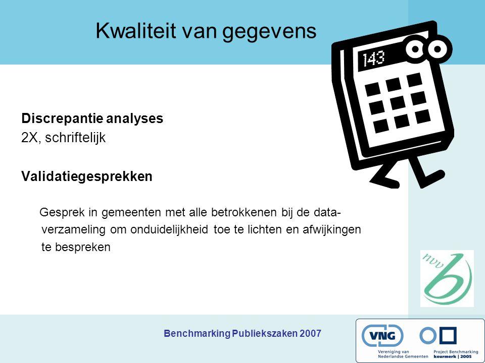 Benchmarking Publiekszaken 2007 Kwaliteit van gegevens Discrepantie analyses 2X, schriftelijk Validatiegesprekken Gesprek in gemeenten met alle betrokkenen bij de data- verzameling om onduidelijkheid toe te lichten en afwijkingen te bespreken