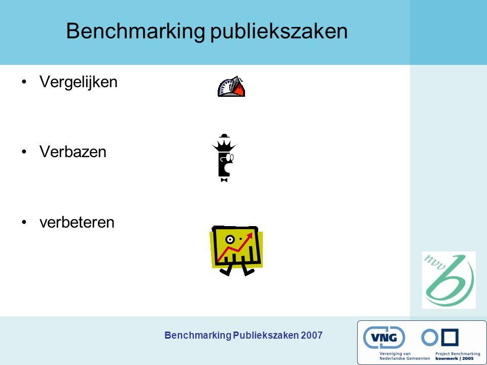 Benchmarking Publiekszaken 2007 Opzet BP 2007 Wie doet er mee.