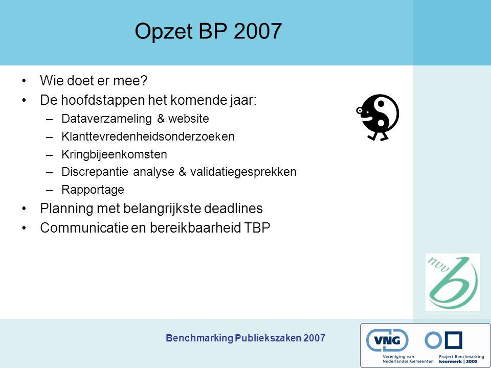Benchmarking Publiekszaken 2007 Wie doet er mee?
