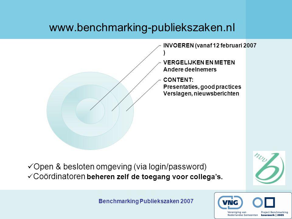 Benchmarking Publiekszaken 2007 Samenvattend: hoe ziet het jaar er uit.