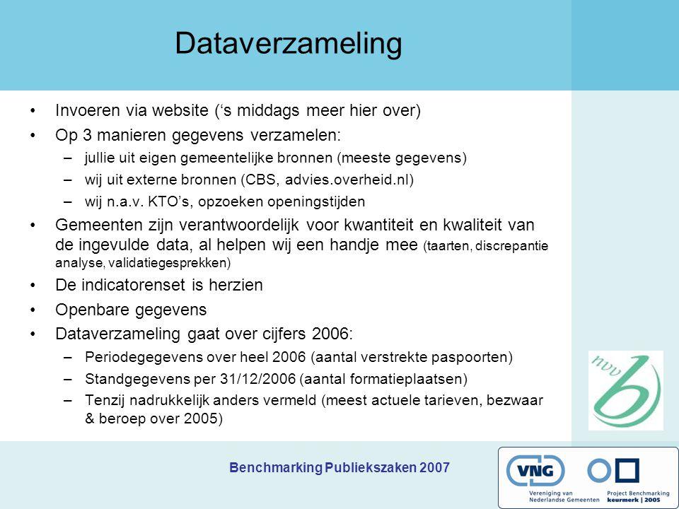 Benchmarking Publiekszaken 2007 Dataverzameling Invoeren via website ('s middags meer hier over) Op 3 manieren gegevens verzamelen: –jullie uit eigen gemeentelijke bronnen (meeste gegevens) –wij uit externe bronnen (CBS, advies.overheid.nl) –wij n.a.v.