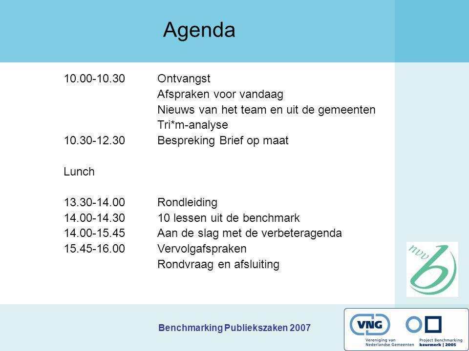 Benchmarking Publiekszaken 2007 10.00-10.30 Ontvangst Afspraken voor vandaag Nieuws van het team en uit de gemeenten Tri*m-analyse 10.30-12.30Bespreki