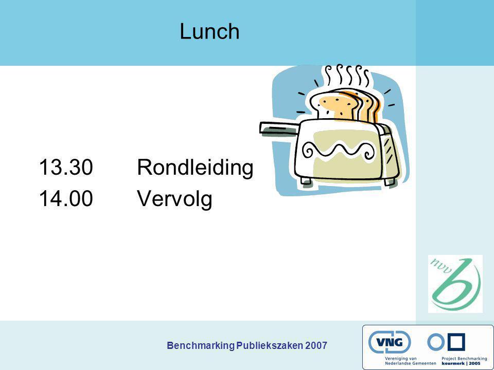 Benchmarking Publiekszaken 2007 Lunch 13.30 Rondleiding 14.00 Vervolg