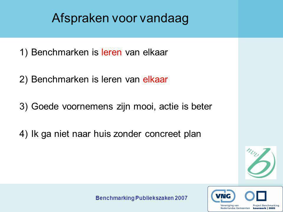 Benchmarking Publiekszaken 2007 Afspraken voor vandaag 1)Benchmarken is leren van elkaar 2)Benchmarken is leren van elkaar 3)Goede voornemens zijn moo