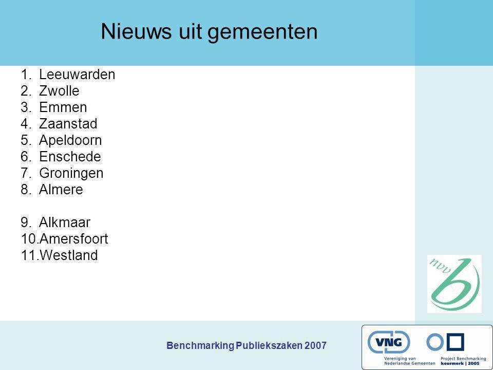 Benchmarking Publiekszaken 2007 1.Leeuwarden 2.Zwolle 3.Emmen 4.Zaanstad 5.Apeldoorn 6.Enschede 7.Groningen 8.Almere 9.Alkmaar 10.Amersfoort 11.Westla