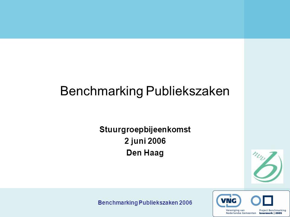 Benchmarking Publiekszaken 2006 Benchmarking Publiekszaken Stuurgroepbijeenkomst 2 juni 2006 Den Haag
