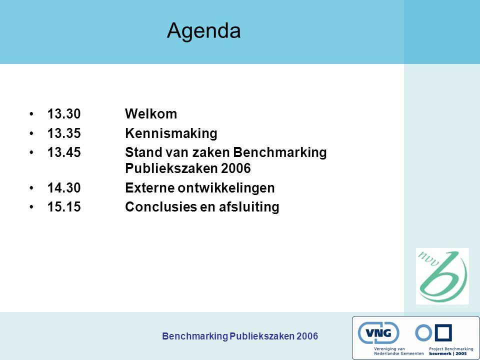 Benchmarking Publiekszaken 2006 Agenda 13.30 Welkom 13.35Kennismaking 13.45Stand van zaken Benchmarking Publiekszaken 2006 14.30Externe ontwikkelingen