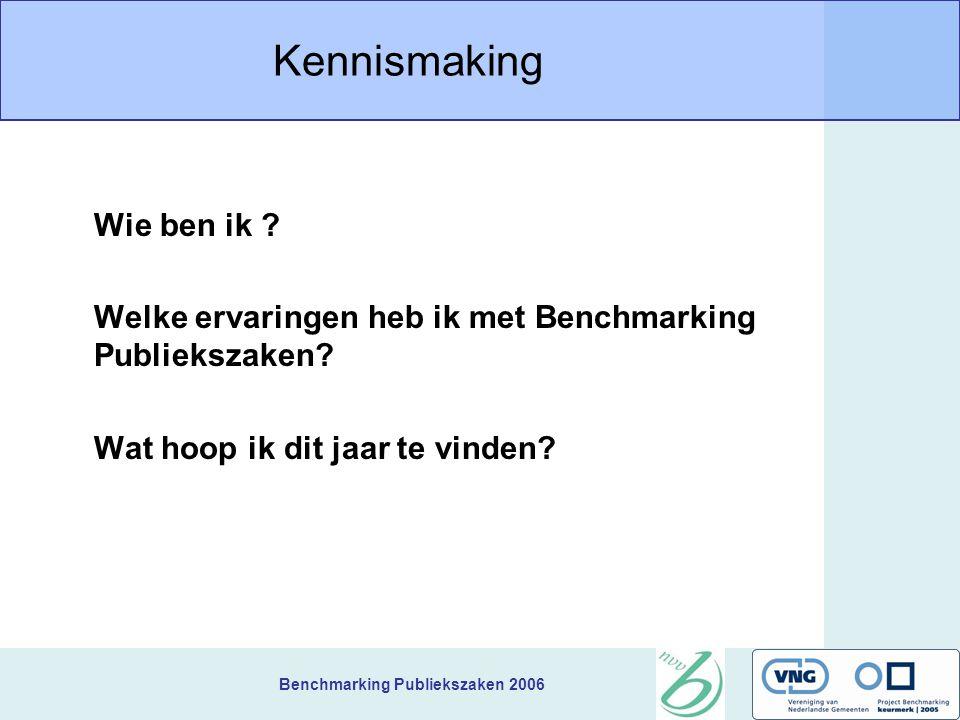 Benchmarking Publiekszaken 2006 Verkenning van thema's Bespreek met elkaar de volgende vraag over Publiekszaken, zet de resultaten op een flap en presenteer deze plenair.