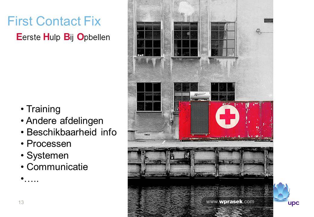13 First Contact Fix E erste H ulp B ij O pbellen Training Andere afdelingen Beschikbaarheid info Processen Systemen Communicatie …..
