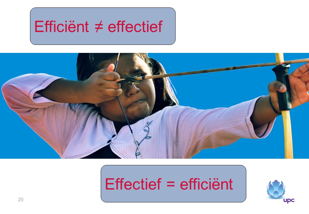 20 Effectief = efficiënt Efficiënt ≠ effectief