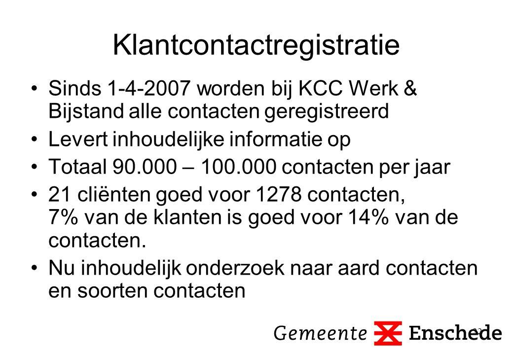 22 Klantcontactregistratie Sinds 1-4-2007 worden bij KCC Werk & Bijstand alle contacten geregistreerd Levert inhoudelijke informatie op Totaal 90.000