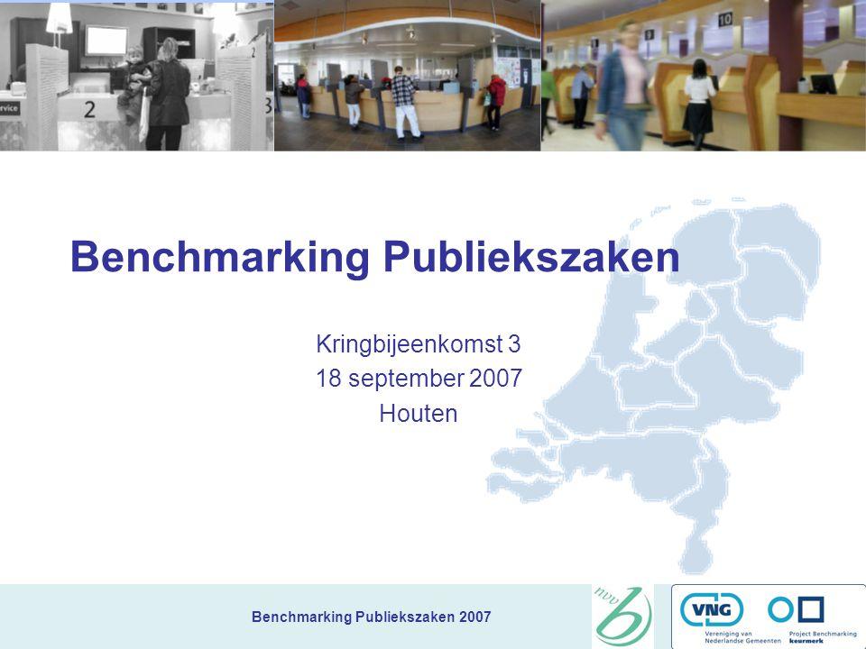 Benchmarking Publiekszaken 2007 TRI*M = Tevredenheid en draagvlak (aan de hand van 4 vragen) Uitkomsten: 1.