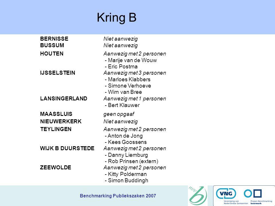 Benchmarking Publiekszaken 2007 BereikbaarheidA.