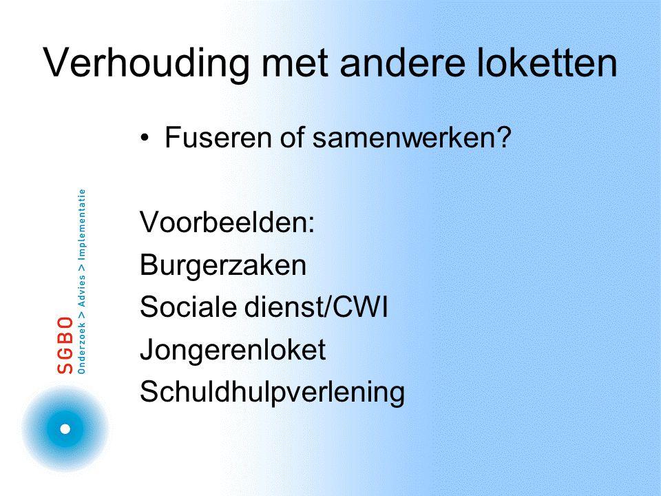 Verhouding met andere loketten Fuseren of samenwerken.