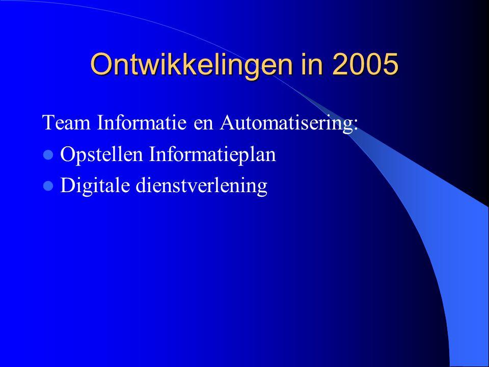 Ontwikkelingen in 2005 Team Informatie en Automatisering: Opstellen Informatieplan Digitale dienstverlening