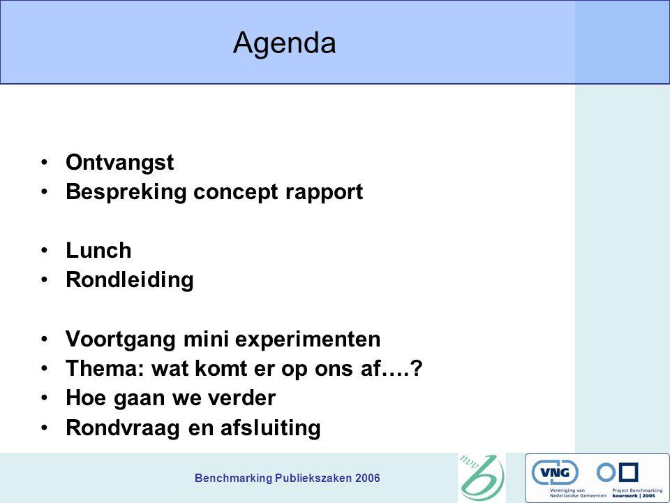 Benchmarking Publiekszaken 2006 Agenda Ontvangst Bespreking concept rapport Lunch Rondleiding Voortgang mini experimenten Thema: wat komt er op ons af
