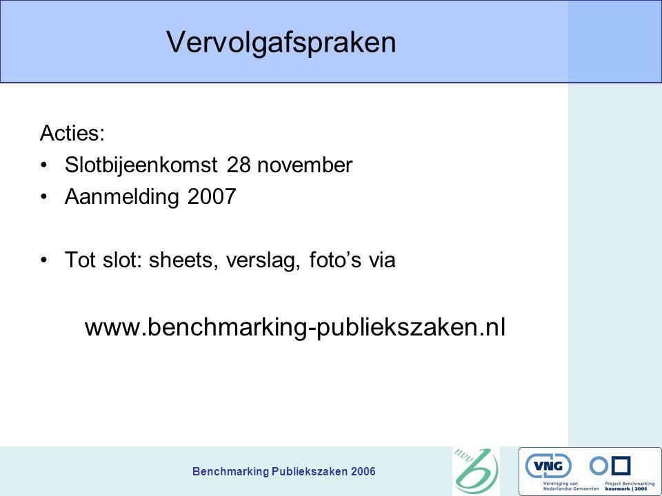 Benchmarking Publiekszaken 2006 Vervolgafspraken Acties: Slotbijeenkomst 28 november Aanmelding 2007 Tot slot: sheets, verslag, foto's via www.benchmarking-publiekszaken.nl