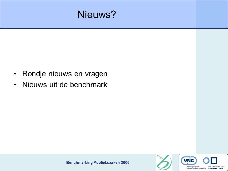 Benchmarking Publiekszaken 2006 Nieuws Rondje nieuws en vragen Nieuws uit de benchmark