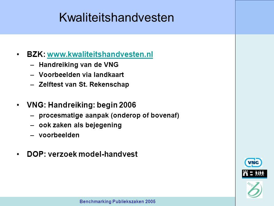 Benchmarking Publiekszaken 2005 Kwaliteitshandvesten BZK: www.kwaliteitshandvesten.nlwww.kwaliteitshandvesten.nl –Handreiking van de VNG –Voorbeelden via landkaart –Zelftest van St.