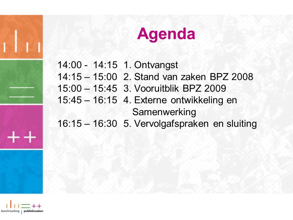 Agenda 14:00 - 14:151. Ontvangst 14:15 – 15:002. Stand van zaken BPZ 2008 15:00 – 15:453.