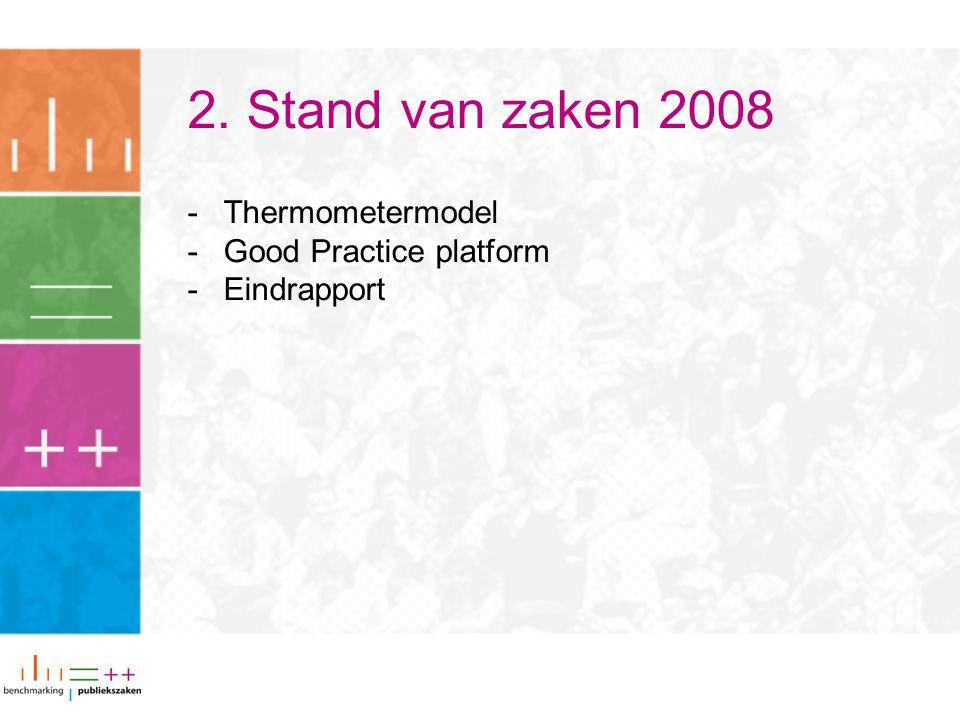 2. Stand van zaken 2008 -Thermometermodel -Good Practice platform -Eindrapport