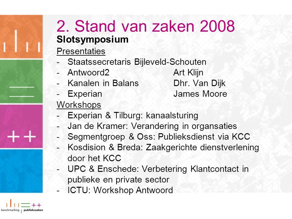 Slotsymposium Presentaties -Staatssecretaris Bijleveld-Schouten -Antwoord2Art Klijn -Kanalen in BalansDhr. Van Dijk -Experian James Moore Workshops -E