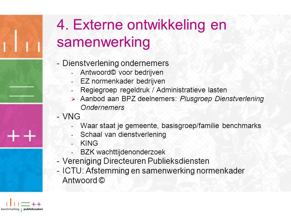 4. Externe ontwikkeling en samenwerking -Dienstverlening ondernemers - Antwoord© voor bedrijven - EZ normenkader bedrijven - Regiegroep regeldruk / Ad