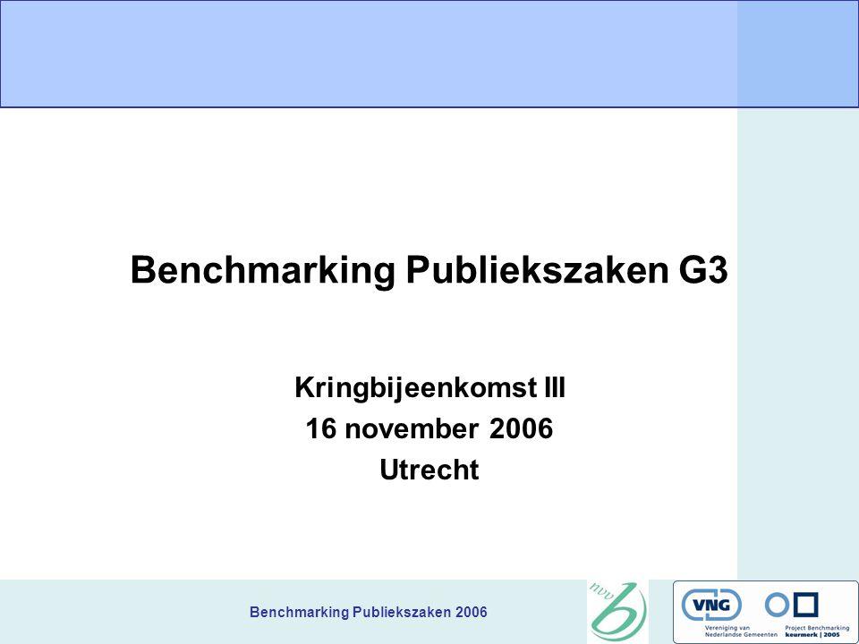 Benchmarking Publiekszaken 2006 Benchmarking Publiekszaken G3 Kringbijeenkomst III 16 november 2006 Utrecht