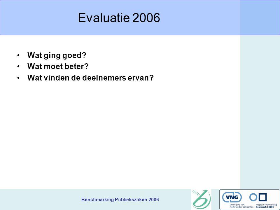 Benchmarking Publiekszaken 2006 Evaluatie 2006 Wat ging goed.