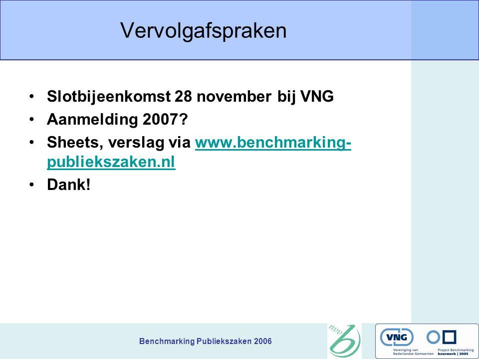 Benchmarking Publiekszaken 2006 Vervolgafspraken Slotbijeenkomst 28 november bij VNG Aanmelding 2007.