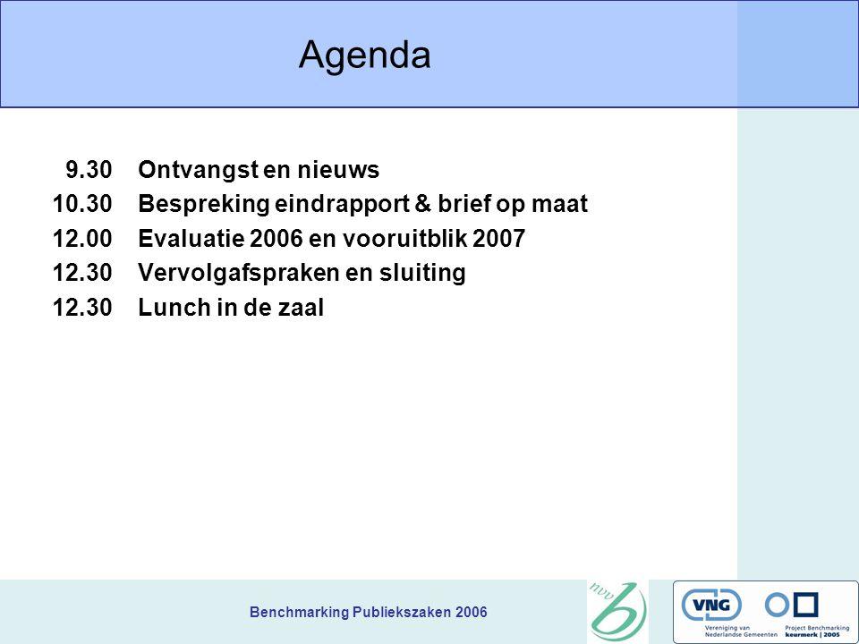 Benchmarking Publiekszaken 2006 Agenda 9.30Ontvangst en nieuws 10.30Bespreking eindrapport & brief op maat 12.00Evaluatie 2006 en vooruitblik 2007 12.30Vervolgafspraken en sluiting 12.30Lunch in de zaal